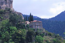 Monastry on hills of Holy Athos Mountain